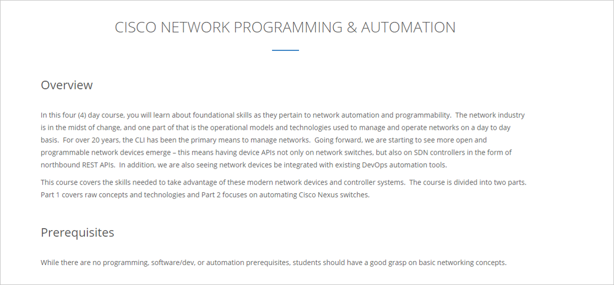 Cisco Network Programming & Automation